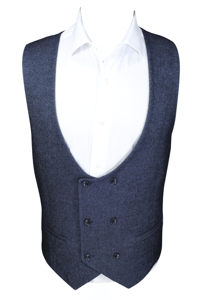 Navy Birdseye Double Breasted Tweed Waistcoat