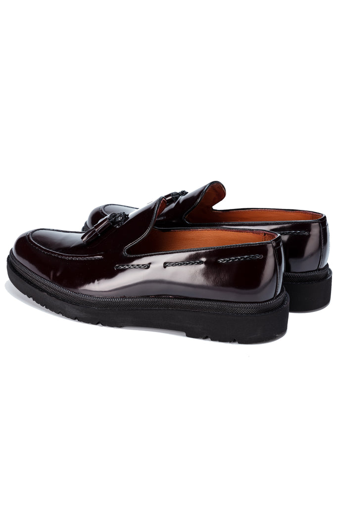 JUDE - Oxblood Handmade Patent Leather Tassel Loafers with Thick Sole