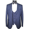 Midnight Blue & Black Jacquard 3 Piece Suit with Plain Trousers