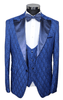 Blue & Navy Jacquard Semi Slim Fit 3 Piece Suit