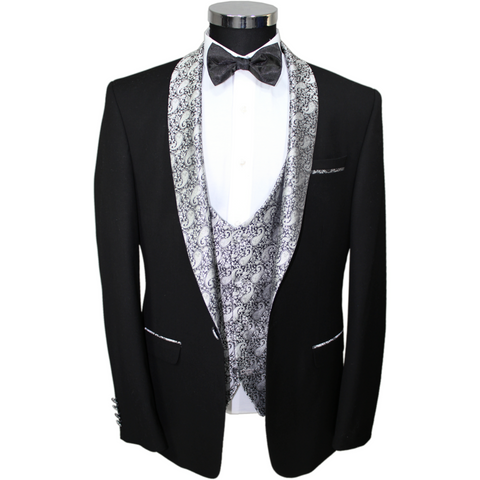 Black Semi Slim Fit Suit with Silver Paisley Shawl Lapel