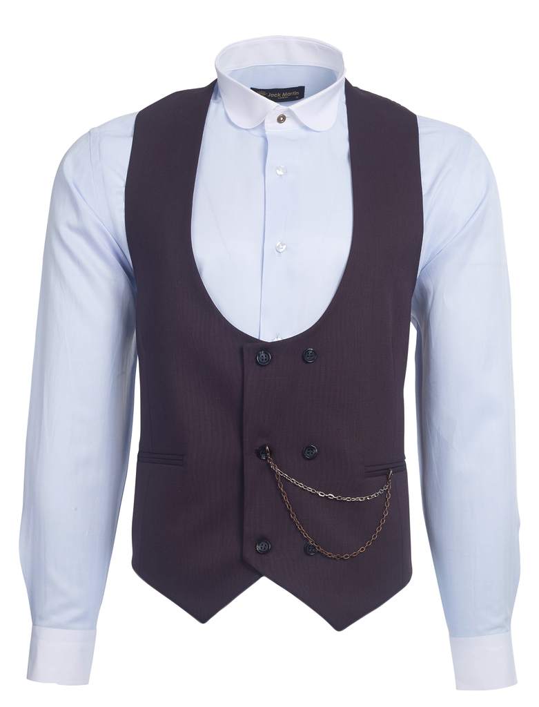 Burgundy Semi Plain Double Breasted Suit Waistcoat (PERCY) - Jack Martin Menswear
