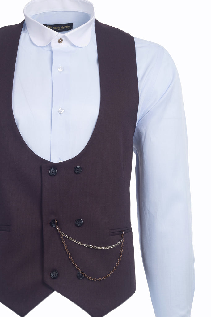 Burgundy Semi Plain Double Breasted Suit Waistcoat (PERCY)