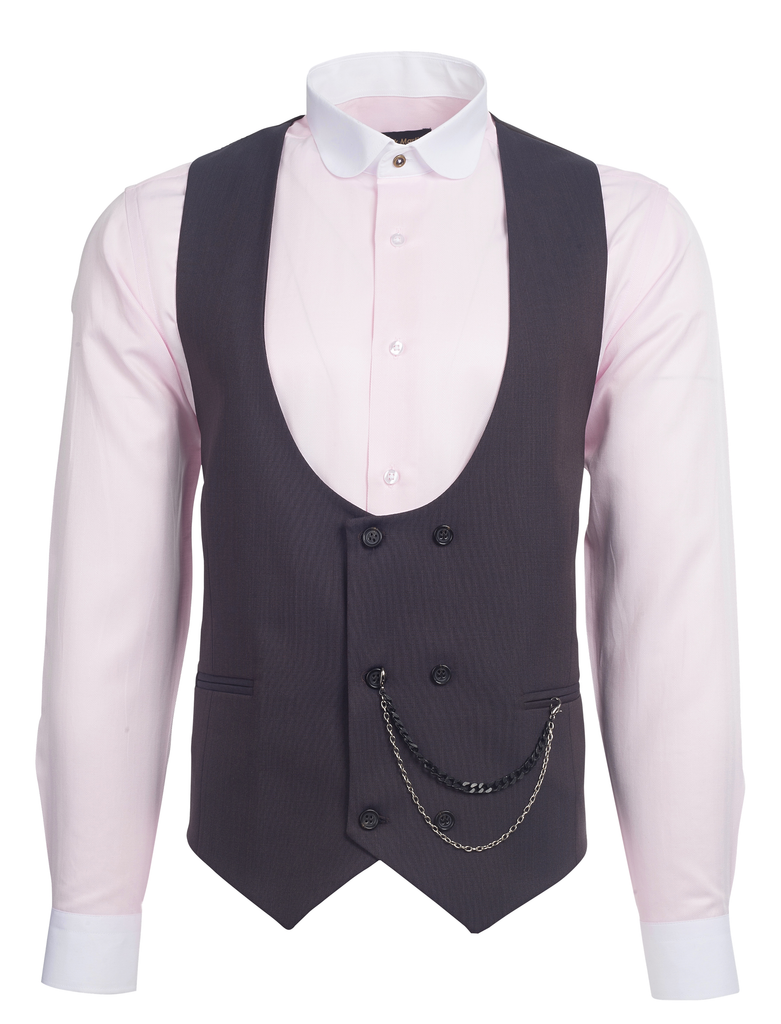 Bronze Brown Semi Plain Double Breasted Suit Waistcoat (PERCY) - Jack Martin Menswear