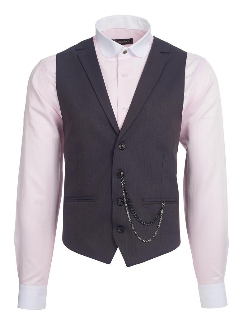Bronze Brown Semi Plain Collared Suit Waistcoat (PERCY)