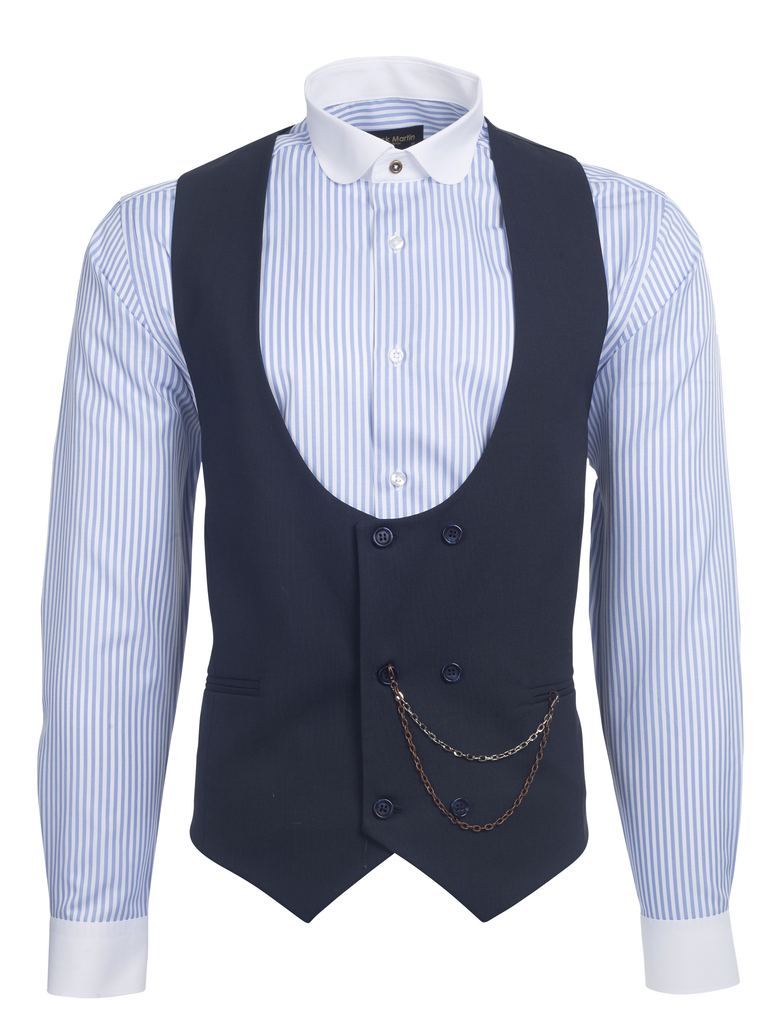 Navy Semi Plain Double Breasted Suit Waistcoat (PERCY) - Jack Martin Menswear