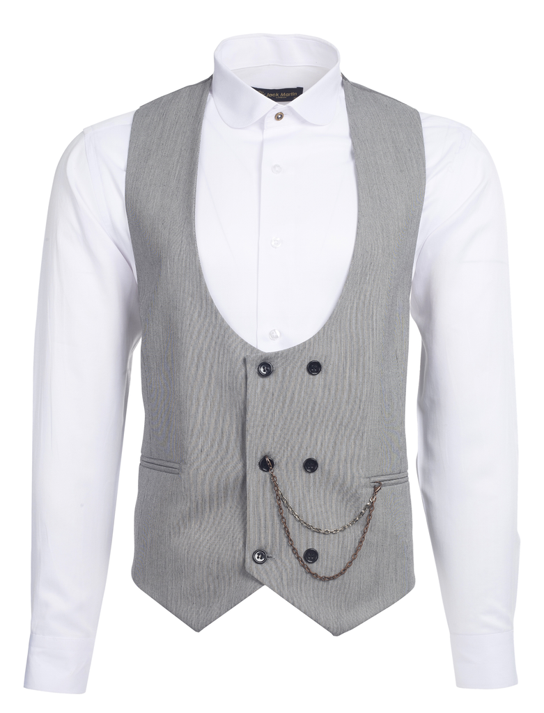 Grey & Black Textured Double Breasted Suit Waistcoat (PERCY)