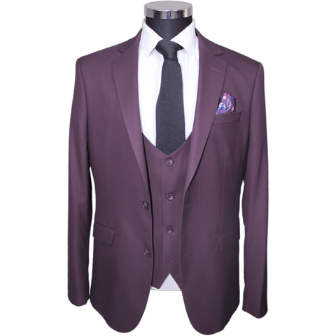 Burgundy Superior 3 Piece Semi-Slim Fit Suit