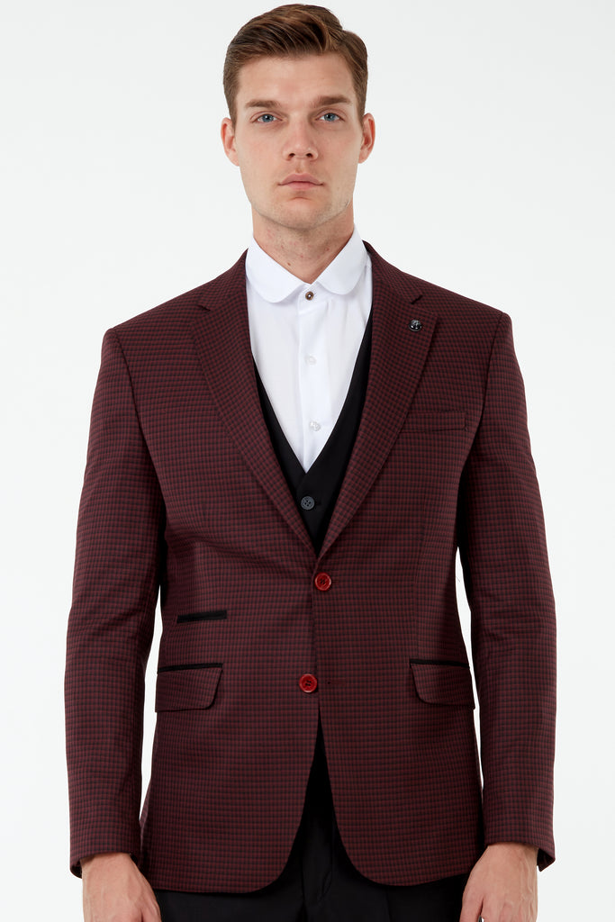 HARPER - Burgundy Micro Check Blazer with Suede Pocket Trims