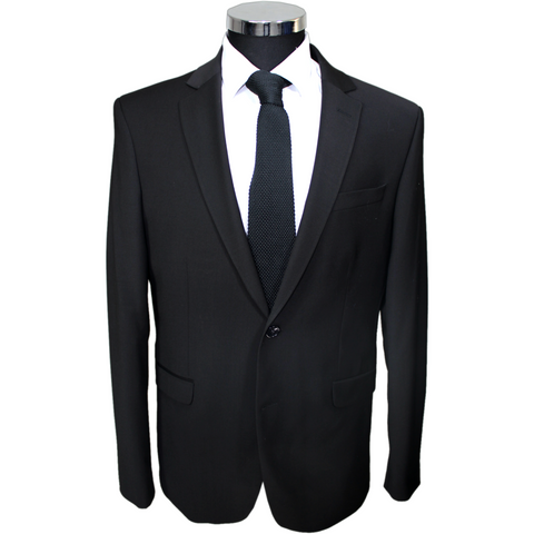 Black Deluxe 100% Wool Semi-Slim Fit Suit