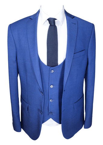 Royal Blue Tweed Patterned 3 Piece Suit