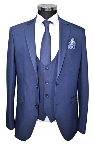 Navy Textured Superior 3 Piece Semi Slim Fit Suit