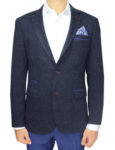 Navy Cotton Jersey Semi-Slim Fit Speckled Blazer