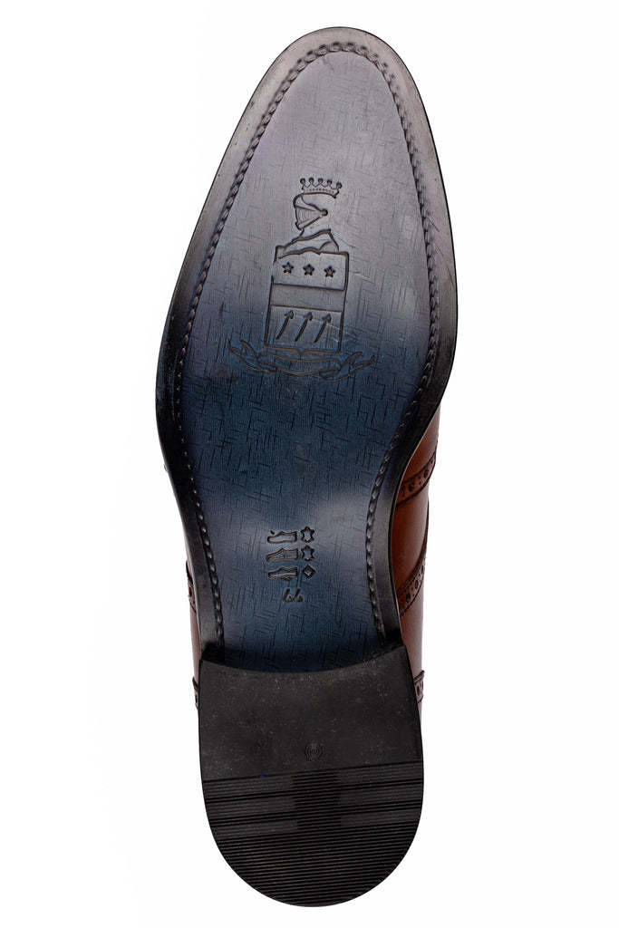 BLAKE - Tan Handmade Burnished Leather Double Monk Strap Shoes