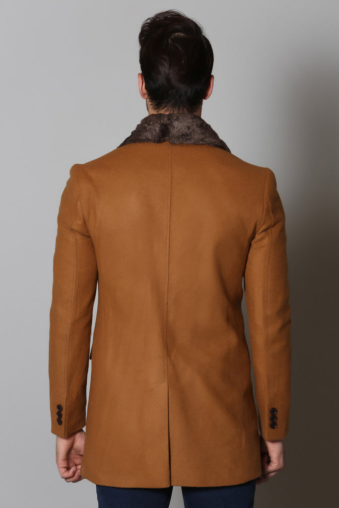 Camel Wool Overcoat with Faux Fur