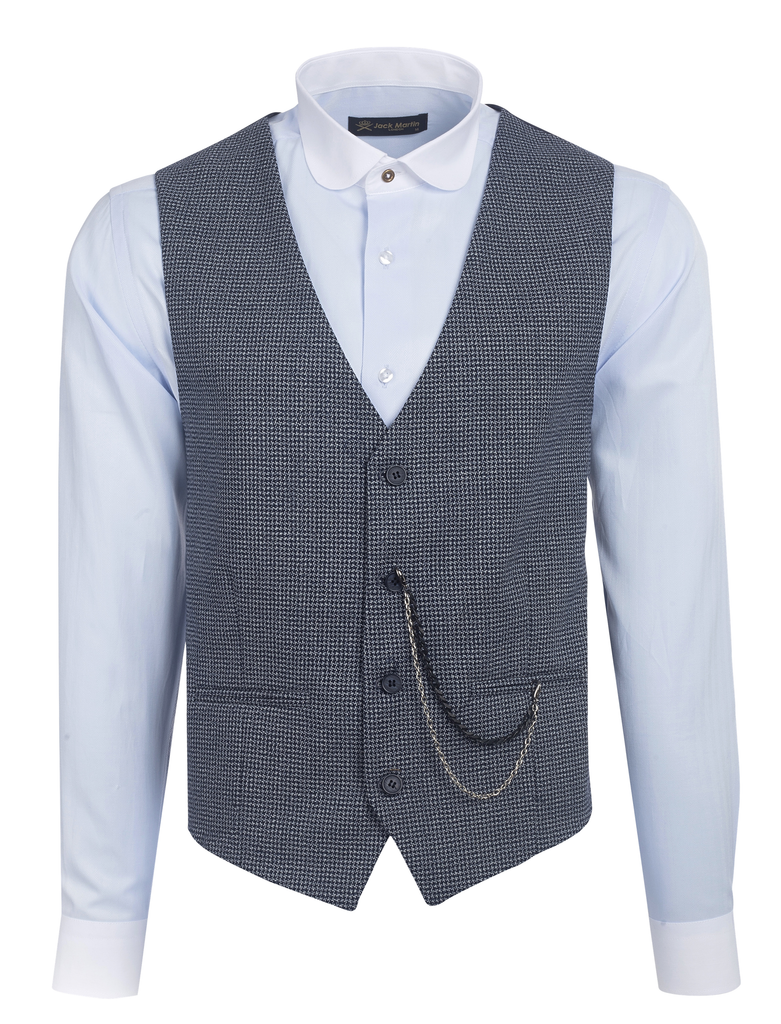 Navy Blue Houndstooth Wool Waistcoat