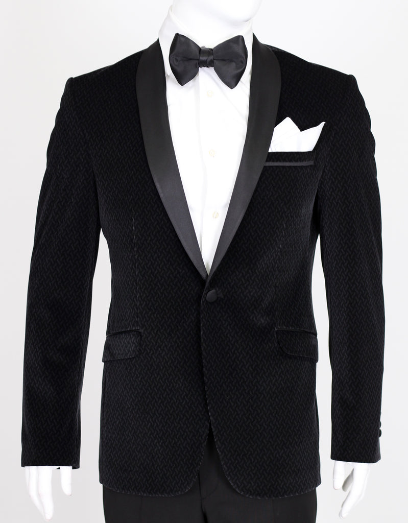 Black Patterned Velvet Suit with Satin Shawl Collar