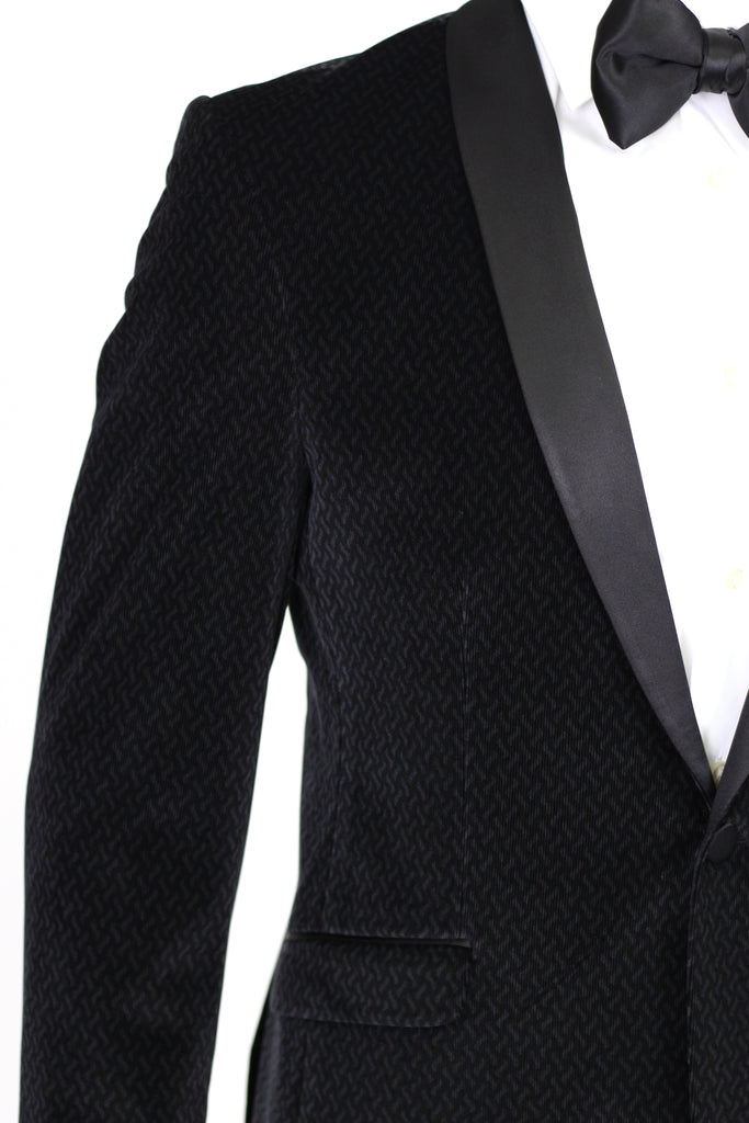 Black Patterned Velvet Blazer with Satin Shawl Collar
