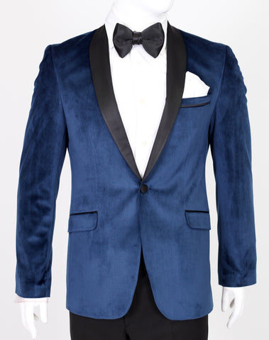 Sapphire Blue Velvet Blazer with Satin Shawl Collar