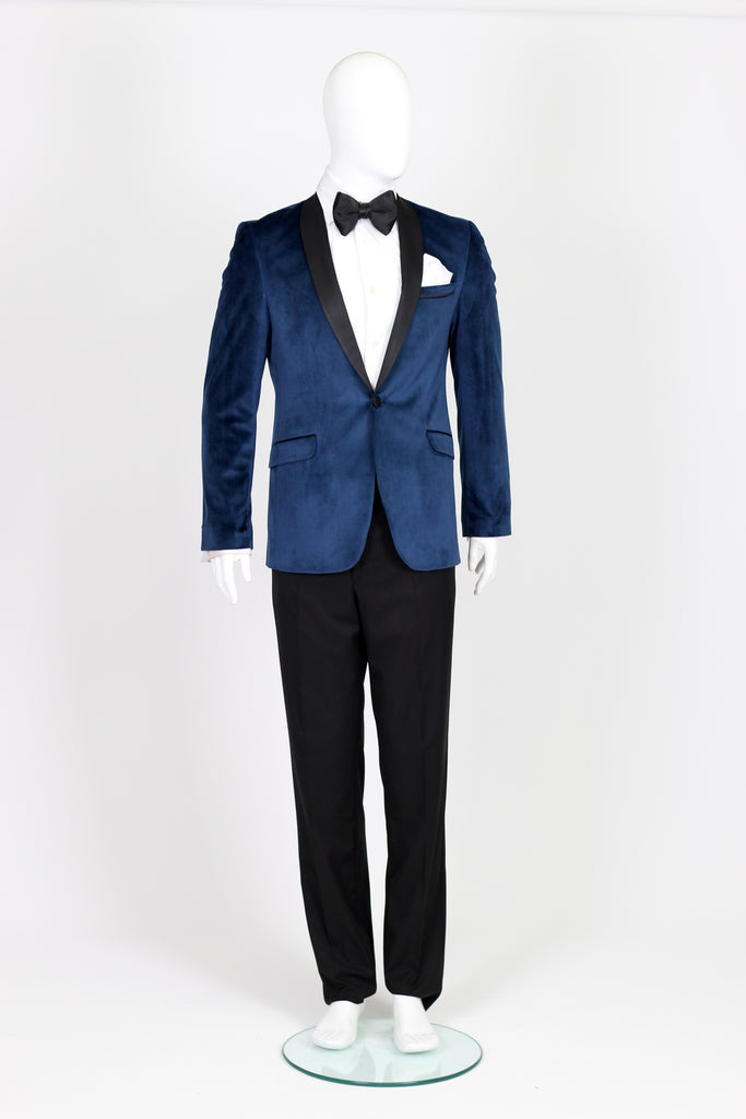 Sapphire Blue Velvet Dinner Jacket with Satin Shawl Collar - Jack Martin Menswear