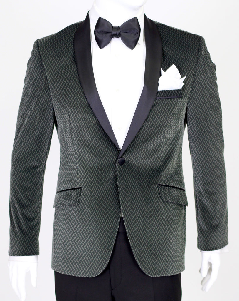 Seaweed Green Patterned Velvet Blazer with Satin Shawl Collar - Jack Martin Menswear