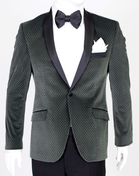 Seaweed Green Patterned Velvet Blazer with Satin Shawl Collar