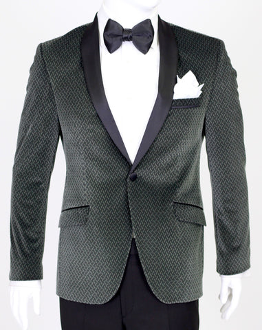 Seaweed Green Patterned Velvet Suit with Satin Shawl Collar