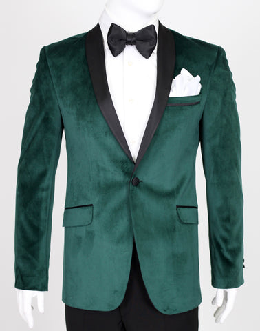 Emerald Green Velvet Blazer with Satin Shawl Collar