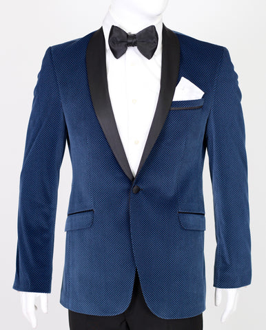 Blue Patterned Velvet Blazer with Satin Shawl Collar