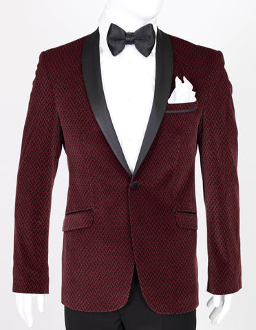 Burgundy Patterned Velvet Blazer with Satin Shawl Collar