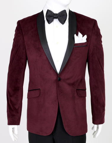 Wine Burgundy Velvet Suit with Satin Shawl Collar