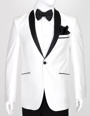 White Suit with Black Satin Shawl Collar