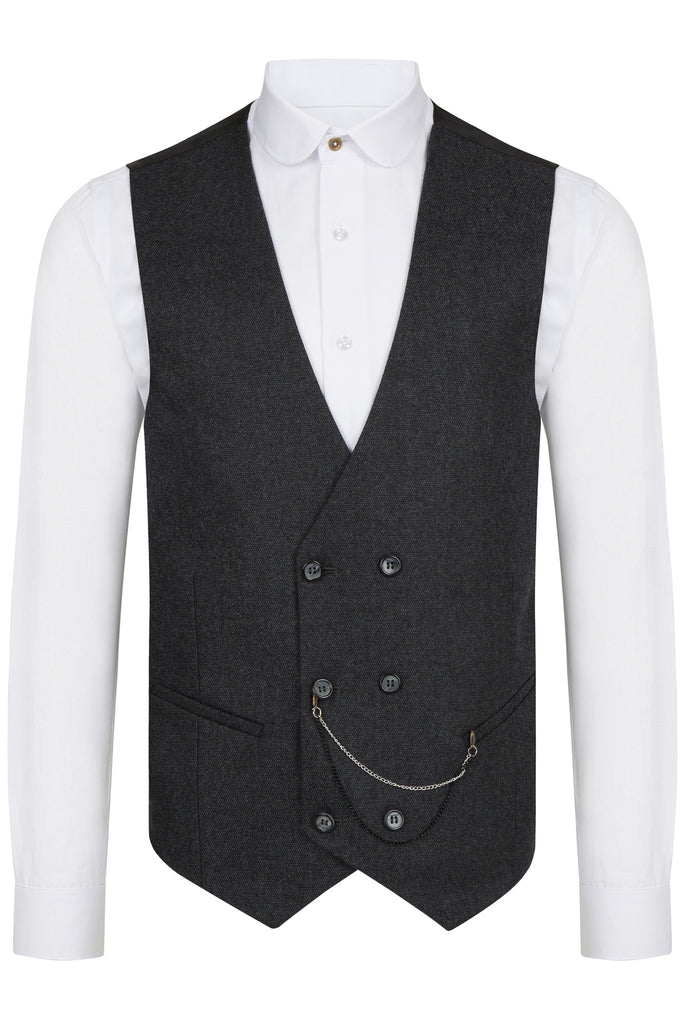 Ash Black Birdseye Tweed Double Breasted Waistcoat - Jack Martin Menswear