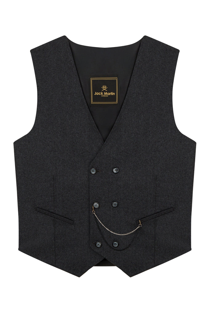 Ash Black Birdseye Tweed Double Breasted Waistcoat
