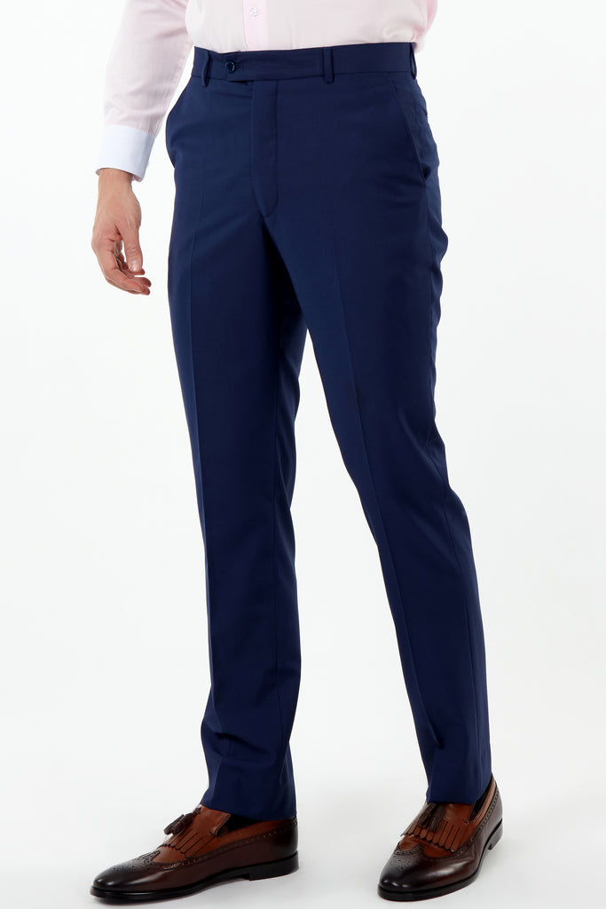 PARIS - Blue Plain Tailored Fit Suit Trousers