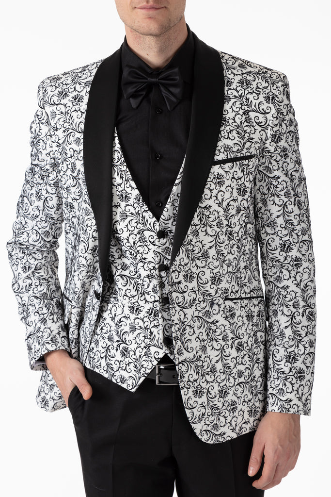 White Floral Printed Velvet Dinner / Tuxedo Jacket - Jack Martin Menswear