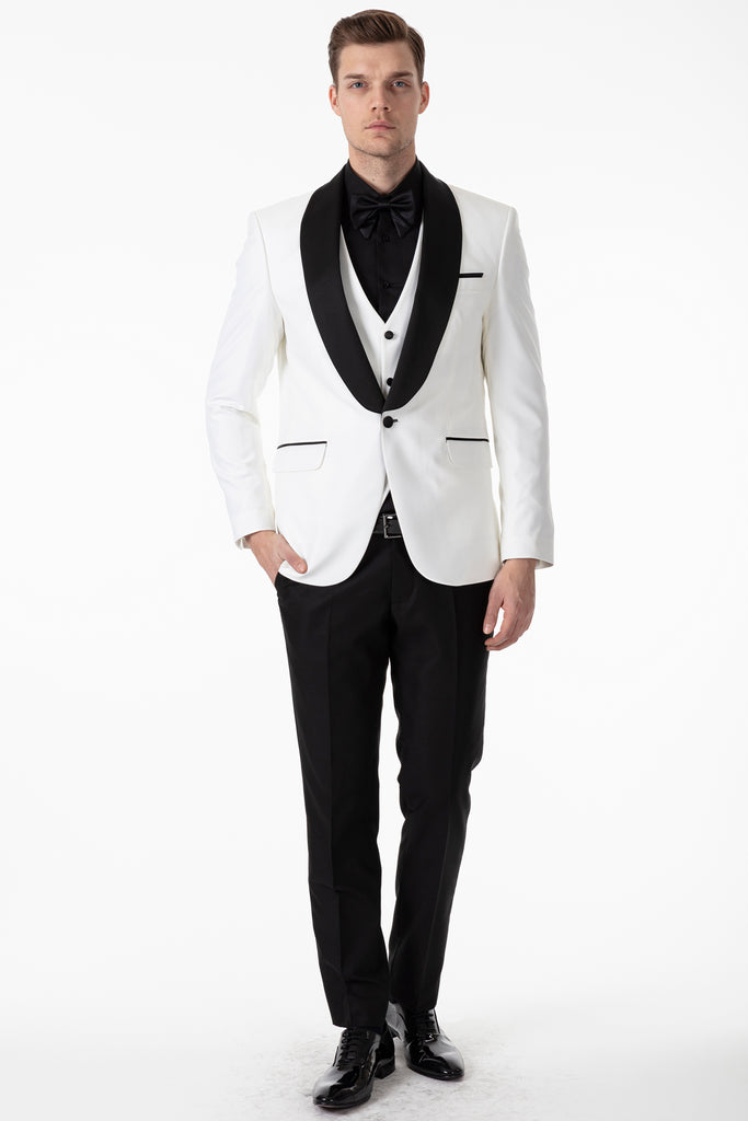 LEO - Off White Dinner / Tuxedo Jacket with Black Wide Shawl Collar - Jack Martin Menswear