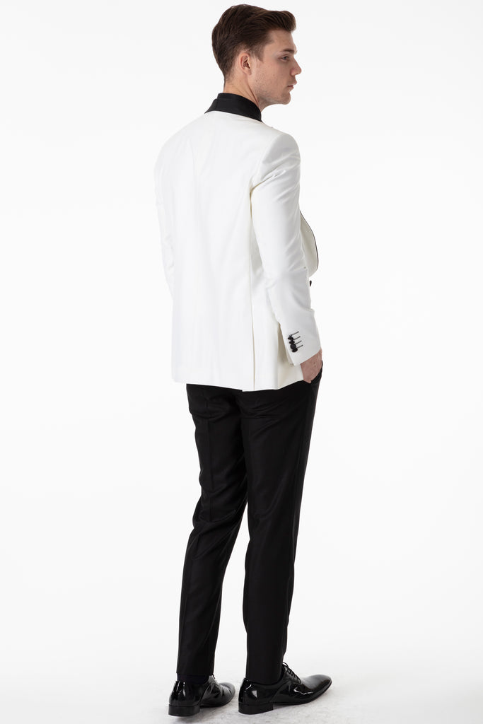 LEO - Off White Dinner / Tuxedo Suit with Black Wide Shawl Collar - Jack Martin Menswear