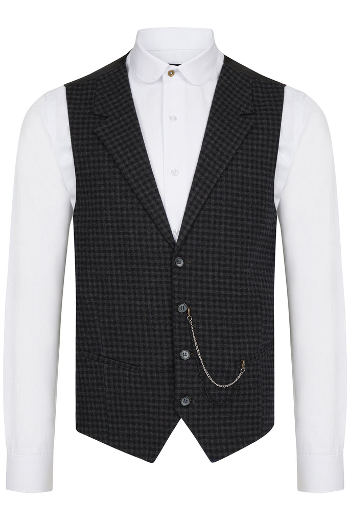 Black Gingham Check Collared Tweed Waistcoat - Jack Martin Menswear
