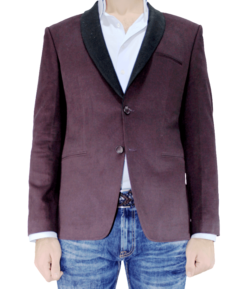 Burgundy Cotton Slim Fit Blazer with Shawl Collar