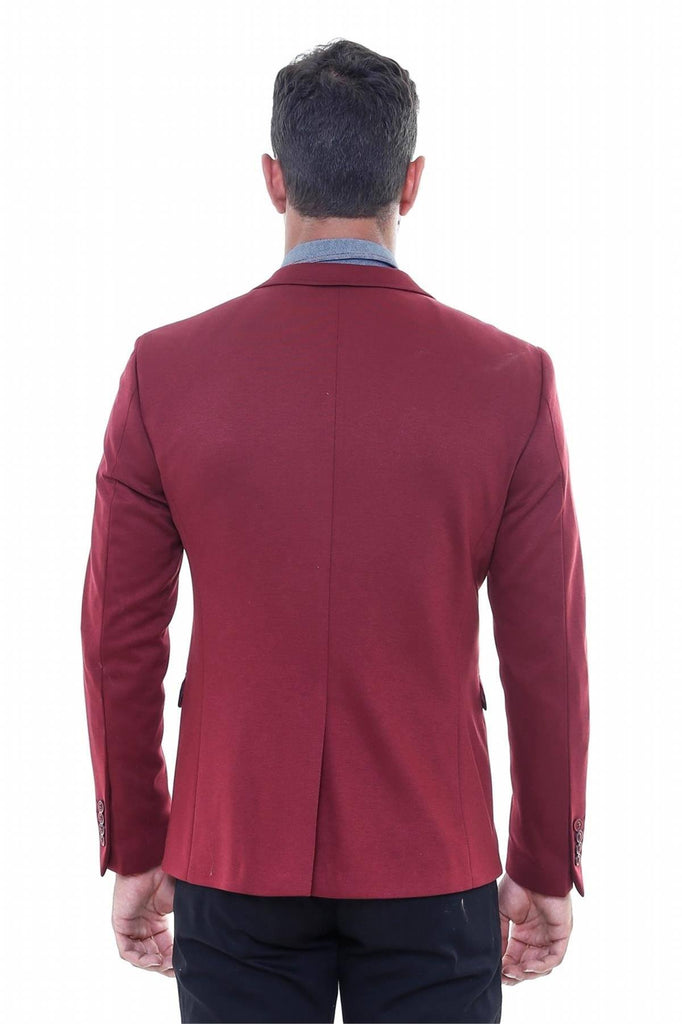 Burgundy Cotton Slim Fit Blazer with Navy Details - Jack Martin Menswear