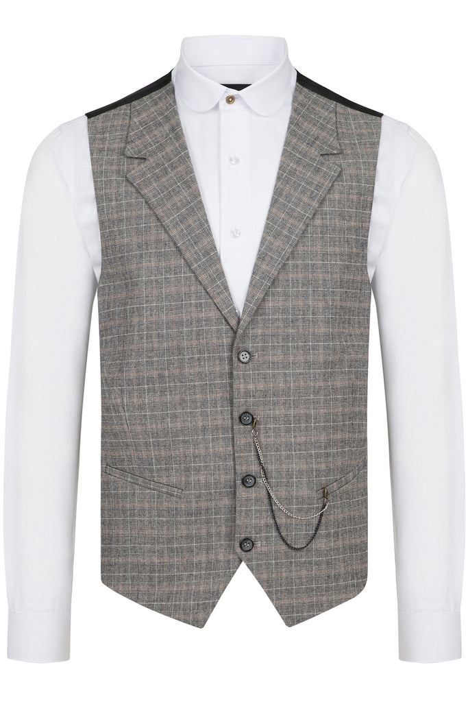 Grey & Multi Colour Check Collared Wool Waistcoat - Jack Martin Menswear