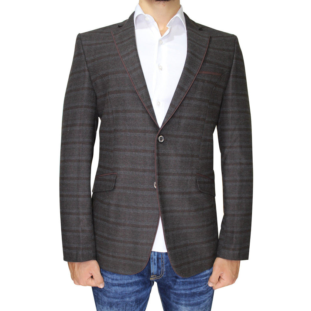 Brown Pure Wool Subtle Check Semi-Slim Fit Blazer - Jack Martin Menswear
