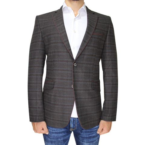 Brown Pure Wool Subtle Check Semi-Slim Fit Blazer