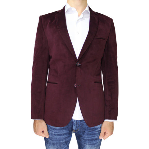 Burgundy Velvet Slim Fit Blazer with Neck Detail
