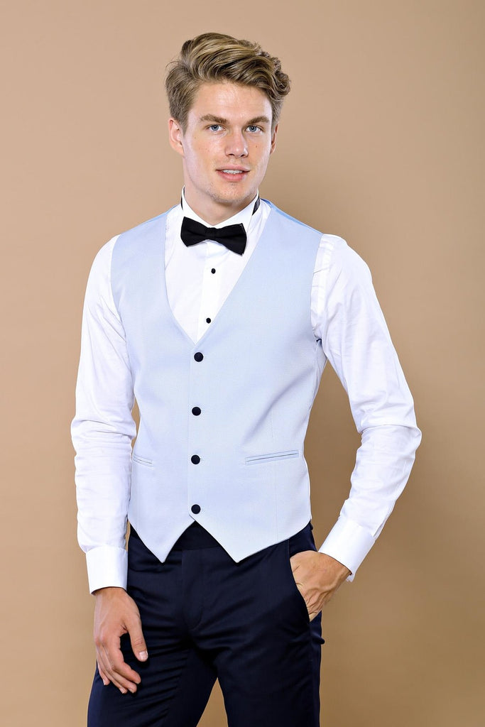 Light Blue Dobby 3 Piece Dinner Suit / Tuxedo