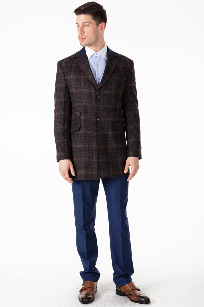 Peaky Blinders - Brown & Navy Check Wool Overcoat - Jack Martin Menswear