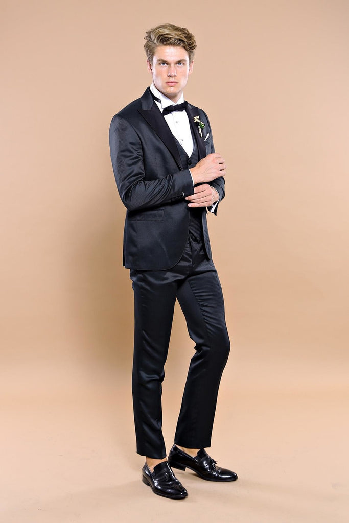 Black Dobby 3 Piece Dinner Suit / Tuxedo with Removable Black Lapel