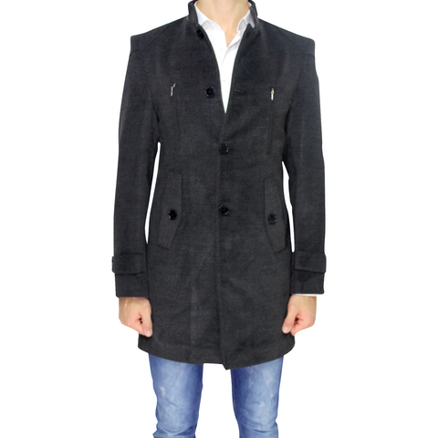 Charcoal Grey Wool Slim Fit Overcoat