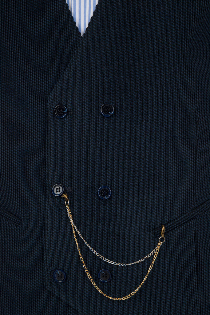 Navy Corduroy Wool Double Breasted Waistcoat - Jack Martin Menswear